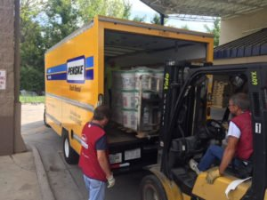 A truck full of donated supplies.